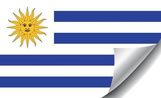 Uruguay flag with curled corner vector