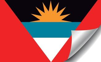 Antigua and Barbuda flag with curled corner vector