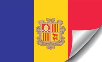 Andorra flag with curled corner vector