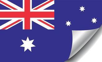 Australia flag with curled corner vector