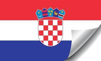 Croatia flag with curled corner vector