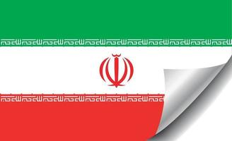 Iran flag with curled corner vector