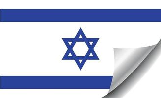 Israel flag with curled corner vector