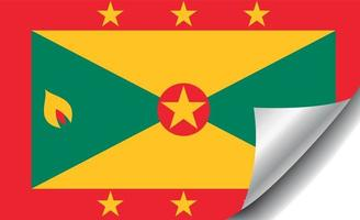 Grenada flag with curled corner vector