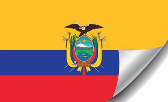 Ecuador flag with curled corner vector