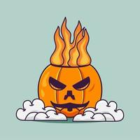 Simple Cute Pumpkin Fire Head With Cloud Illustration vector