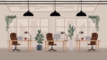 Loft modern open space office interior. Flat vector workplace.