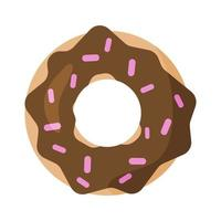 Donut with chocolate cream and pink powder. Cute illustration vector