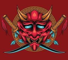 demon samurai mask vector