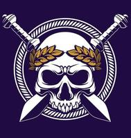 skull logo with sword vector