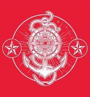 nautilus anchor art vector