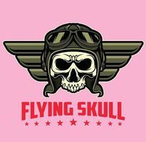 flying skull pilot vector
