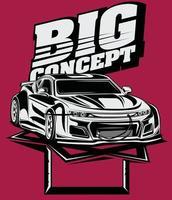 big concept custom engine car vector