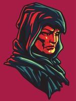 black hooded man vector