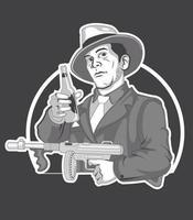 cerveza mafia con pistola vector