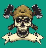 skull black with hammer vector