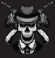mafia cabeza de cráneo con pistola vector