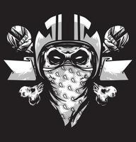skull helmet banner white logo vector