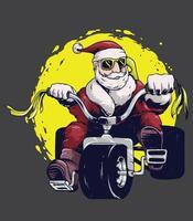 santa claus ride bike vector