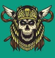 skull cleopatra gold helmet vector