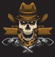 skull cowboy gun vector