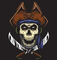 skull pirate captain vector