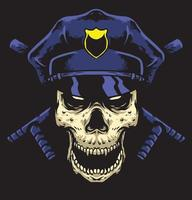 skull police with path stick vector