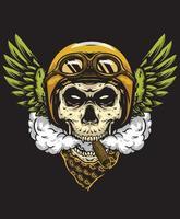 skull smoking with helmet wings vector
