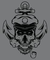 skull seafarer with anchor design vector