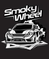 smoky wheel custom car vector