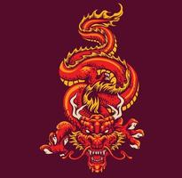 red oriental dragon vector