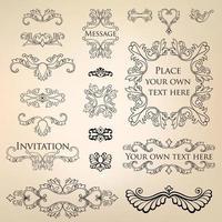 Page decor element set. Decorative frame floral line vignette border vector