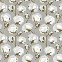 Cotton plant floral seamless pattern. Cotton flowers bolls backdrop vector