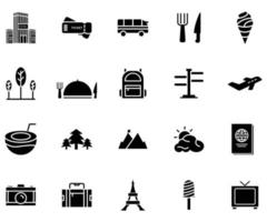 travel Holiday icon set solid style vector for your web design
