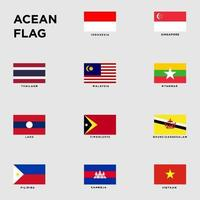 flags of countries in southeast asia set for your design vector