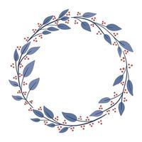Simple winter season Christmas wreath, round frame vector