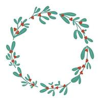 Christmas winter holly berry cute wreath in simple flat drawn style vector