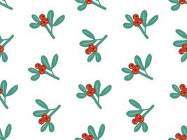 Christmas winter seamless pattern with mistletoe and holly berries vector