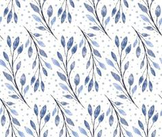 Winter vector watercolor textured blue floral seamless pattern