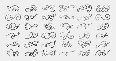 Set of different hand drawn flourish swirl ornate decoration elements vector