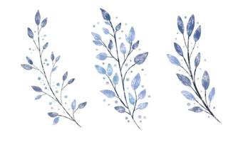 Set of watercolor textured vector branch with blue leaves and dots