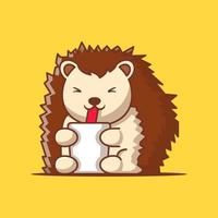 Cute Porcupine with Drink Cartoon Vector Illustration