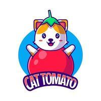 Cute Mascot Logo Cartoon Cat Tomato Vector Illustration