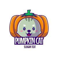 Cute Mascot Logo Cartoon Pumpkin Cat Vector Illustration