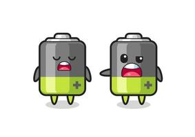 illustration of the argue between two cute battery characters vector