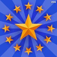 Golden star on blue radius background. Vector. vector