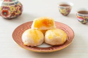 Chinese pastry moon cake with salted egg peanut photo