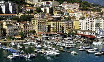 Apartments and the harbour of Salerno photo