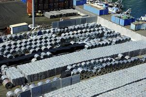 Aluminimum stockpile in the Port of Salerno, Italy photo