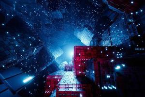 Sci-fi futuristic techno neon cube lights design. Abstract 3d Render photo
